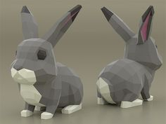 Bunny Papercraft, Papercraft - Construct Your Personal Low Poly Paper Sculpture from P. 3d Paper Crafts, Paper Toys, Diy Paper, Paper Art, Low Poly, Piskel Art, Papercraft Download, Paper Bunny, Jars