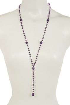 Oxidized Sterling Silver Beaded Faceted Amethyst Y-Drop Necklace