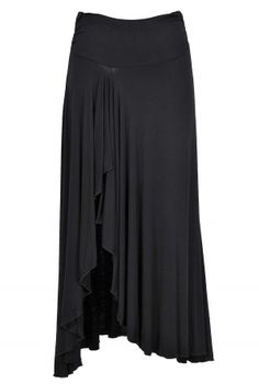 Side Slit Ruffle Maxi Skirt in Black  www.lilyboutique.com