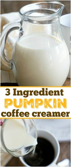 Youve got to make this easy homemade pumpkin spice coffee creamer! With just 3 ingredients you can make your own pumpkin creamer & have it year round! - Coffee Creamer - Ideas of Coffee Creamer Pumpkin Coffee Creamer, Pumpkin Spice Frappuccino, Homemade Pumpkin Spice Latte, Homemade Coffee Creamer, Pumpkin Spice Syrup, Spiced Coffee, Powdered Coffee Creamer Recipe, Keto Coffee Recipe, Coffee Recipes
