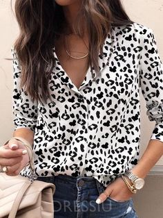 09873570 Leopard Print Loose Long Sleeve Women's Casual Blouse. Blouse StylesPolka  Dot Top