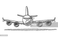 Vector Art : Cartoon Airplane Front View Drawing