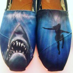 Custom Painted Toms Shoes Airbrushed Jaws Hand Painted Womens Shoes Shark Footwear Flats
