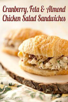 Cranberry, Feta & Almond Chicken Salad Sandwich - Krafted Koch - A flavorful twist on a classic chicken salad sandwich recipe for a delicious lunch idea!