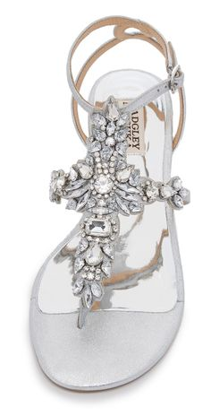 Badgley Mischka Cara II Flat Sandals Source by topheelsdeals flats Bling Wedding Shoes, Wedding Flats, Bling Shoes, Bridal Shoes, Shoes Flats Sandals, Flat Sandals, Sparkly Sandals, Stylish Sandals, Heels