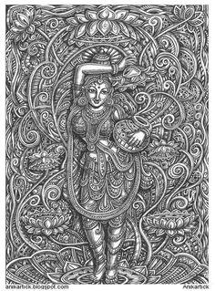 Kerala Mural Painting, Indian Art Paintings, Madhubani Painting, Ganesha, Psy Art, Religious Paintings, Madhubani Art, Indian Folk Art, Art Base
