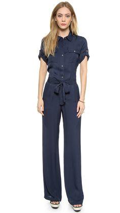 a12852eb1243 DKNY Short Sleeve Jumpsuit with Belt Floral Jumpsuit