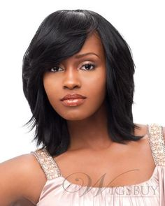 Medium Straight Jet Black Basic Layered Cut 100 Human Hair Capless Wig about 12 Inches : wigsbuy.com