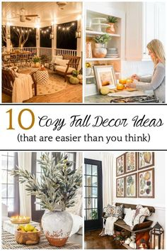 A round-up of 10 cozy fall decorating ideas that take just minutes to do and are so easy to create a warm, inviting home. Decorating On A Budget, Porch Decorating, Craftsman Window Trim, Cozy Patio, Diy Ottoman, Inviting Home, Fire Table, Affordable Home Decor, Weathered Wood