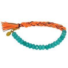 turquoise and coral friendship bracelet
