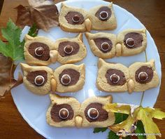 Peanut Butter Owl Cookies -adorable for those in my life that do love peanut butter! wondering if you could do it with sugar cookies? Köstliche Desserts, Delicious Desserts, Yummy Food, Dessert Recipes, Yummy Yummy, Holiday Treats, Holiday Recipes, Biscotti, Yummy Treats