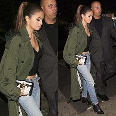 Selena Gomez out in NYC in a Celine coat