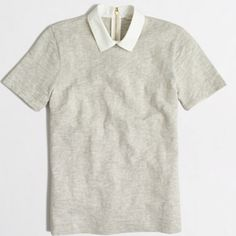 JCREW Short sleeve collared top 100% cotton. Like new! Super soft and thick cotton material. Pair with a statement necklace and you're set! Color: light gray and light tan mixed. Zips in back J. Crew Tops Blouses