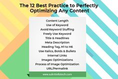 12 Best Practice to Perfectly Optimizing Any Content Mobile Marketing, Content Marketing, Social Media Marketing, Simple Words, Best Practice, Digital Marketing Services, Thing 1 Thing 2, Promotion, India
