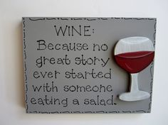 Hand Painted Gray Wooden Wine Sign WINE Because no by kimgilbert3, $12.00