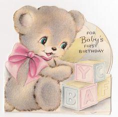 Vintage Greeting Card Baby's First Birthday Cute Die-Cut Flocked Bear Hallmark Vintage Greeting Cards, Birthday Greeting Cards, Birthday Greetings, Vintage Artwork, Vintage Images, Baby Friends, Vintage Birthday, Baby First Birthday, Vintage Toys