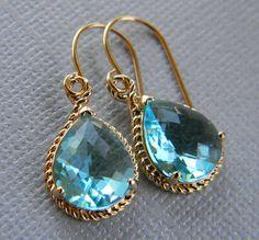 Aquamarine and Gold Earrings Bridesmaid Earrings by Greenperidot, $24.50