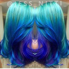 Waves One of the prettiest color melts we've seen by Jess Nitti mermaid hair unicorn hair rainbow hair ombre balayage /hot eautymagazine Hair Color Blue, Cool Hair Color, Green Hair, Purple Hair, Ombre Hair, Hair Colors, Colours, Hair Rainbow, Rainbow Unicorn