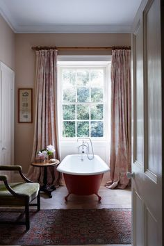 Traditional Bathroom Freestanding Tub - Classical proportions and traditional furnishings combine making this Cornish family home the ideal acquisition - bathrooms on HOUSE by House & Garden. Bathroom Styling, Bathroom Interior Design, Bathroom Ideas, Bathroom Storage, Bathroom Cabinets, Bathroom Designs, Bathroom Mirrors, Garden Bathroom, Shower Designs