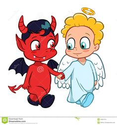 I think a small version of this, with them separated - onevon the back of each shoulder - would be a cute tstoo! ♡ Cartoon Devil And Angel Tattoos Devil and angel on shoulder