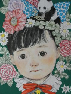 A little girl among the flowers, by Higuchi, Yuko.  Cute child illustration