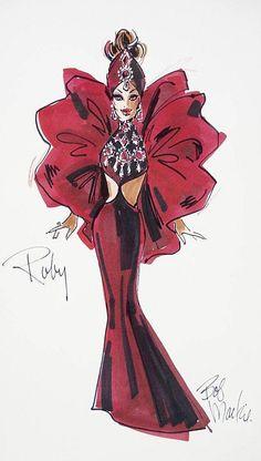 Bob Mackie Ruby Radiance Barbie Illustration