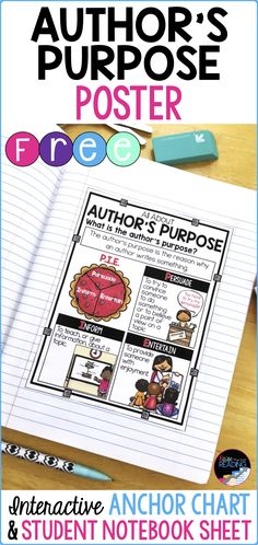FREE Author& Purpose Poster, Interactive Author& Purpose Anchor Chart and Student Notebook Sheet (Perfect for interactive notebooks! Writing Posters, Reading Posters, Writing Anchor Charts, Teaching Writing, Writing Activities, Teaching Ideas, Teaching Time, Elementary Teaching, Student Teaching