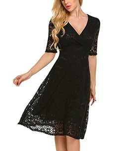 795c204ff153 Misakia Womens Fashion 34 Sleeve Lace Fit Flare Elegant Cocktail Party Dress  Black M -- BEST VALUE BUY on Amazon