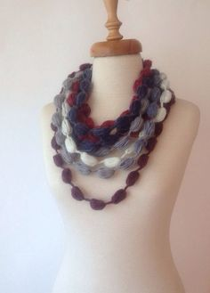 Grey to Burgundy Infinity Scarf Long Fashion Women by allapples