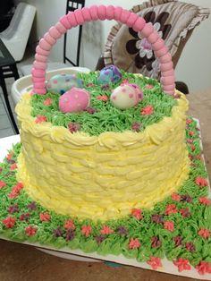 Easter cake   Basket fondant eggs grass tip