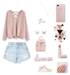 """""""Everything is PINK"""" by cherayebrown ❤ liked on Polyvore featuring Chicwish, Nobody Denim, adidas and Lipstick Queen"""