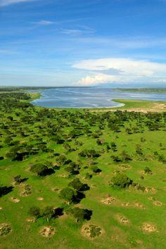 Aerial view of Murchison Falls National Park and Lake Albert - Uganda, Africa