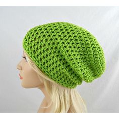 Lime Green Slouchy Beanie, Womens Crochet Slouchy Hat, Slouchy Winter... ($20) ❤ liked on Polyvore featuring accessories, hats, crochet beanie cap, long slouchy beanie, lime green beanie, slouch beanie hats and lime green hat