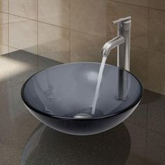 Vigo Glass Vessel Sink in Sheer Black and Faucet Set in Brushed Nickel-VGT257 at The Home Depot
