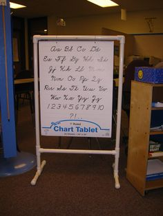Homemade chart stand made from pvc pipe. You can make it to fit whatever size chart you want.