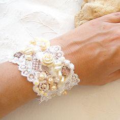 Wedding charm beaded Bracelet , embroidered hand made,  vintage embroidery lace bracelet.. $54.00, via Etsy.