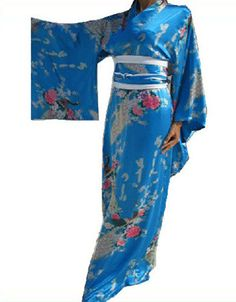 Vintage Yukata Peacock Japanese Haori Kimono Robe Gown Costume Dress with Obi