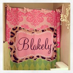 :) Personalized Shower Curtain  Funky Damask by pinkcloverdesigns, $74.95