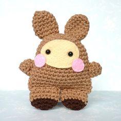 Knitted (or crochet?) bunny. Handmade in the UK. Nice.