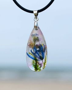 Real flowers pendant, pendant, necklace , resin, drop shape, silver, flowers jewerly by ByMine on Etsy