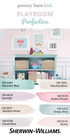 Bring the whimsy and innocence of childhood to life in bedrooms, playrooms and any space in need of a happy new outlook. Pick and choose or mix and match; the 30 colors of the Pottery Barn Kids Spring/Summer 2018 palette are kid-approved crowd-please Playroom Paint Colors, Kids Bedroom Paint, Girls Room Paint, Girls Bedroom Colors, Colorful Playroom, Big Girl Bedrooms, Bedroom Paint Colors, Little Girl Rooms, Playroom Color Scheme