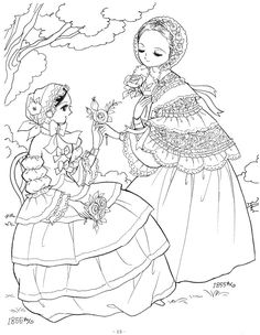 Ladies in historical costume: 1855, 1856, Princess World, shojo princess coloring page, p15 |  Princess-World-19.jpg