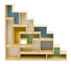 Tetris Shelves for the home, can be arranged in lots of different ways! (From Brave Space Design) Wood Shelves, Glass Shelves, Stair Shelves, Bookshelf Wall, Wall Shelving, Cat Shelves, Shelving Units, Muebles Living, Regal Design