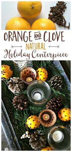 Orange Clove Natural Holiday Centerpiece | Easy holiday and Christmas decorating. Create a fragrant Orange and Clove centerpiece to last all season. Click the photo to see how. Today's Creative Life