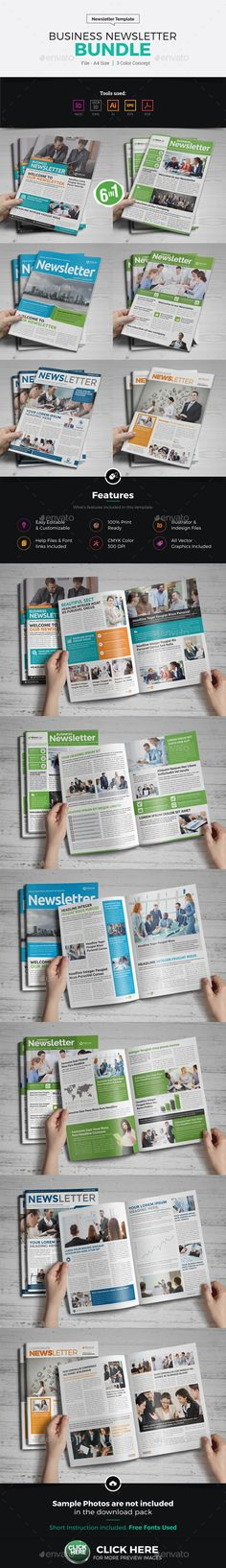 #Newsletter #Design Bundle - Newsletters Print #Templates Download here: https://graphicriver.net/item/newsletter-design-bundle/18377788?ref=alena994