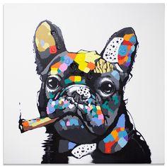 Cartoon Dog, Cartoon Drawings, Tableau Pop Art, French Bulldog Art, Frida Art, Dog Illustration, Arte Pop, Dog Portraits, Animal Paintings