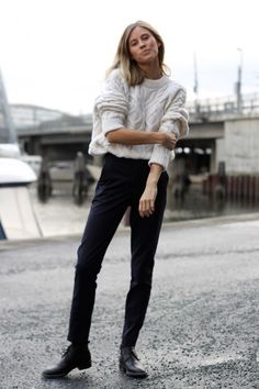 White Knit sweater Tom boy street style black pant fashion black and white km