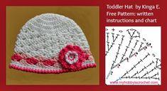 Crochet hat lacy Shell stitch, free pattern written instructions and chart