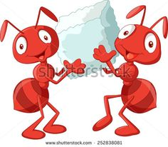 Cartoon ants holding sugar - stock vector