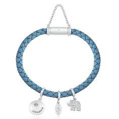 Pulseira Prata Couro Azul e Zircônia Sabedoria 18,5cm - Life Wishes